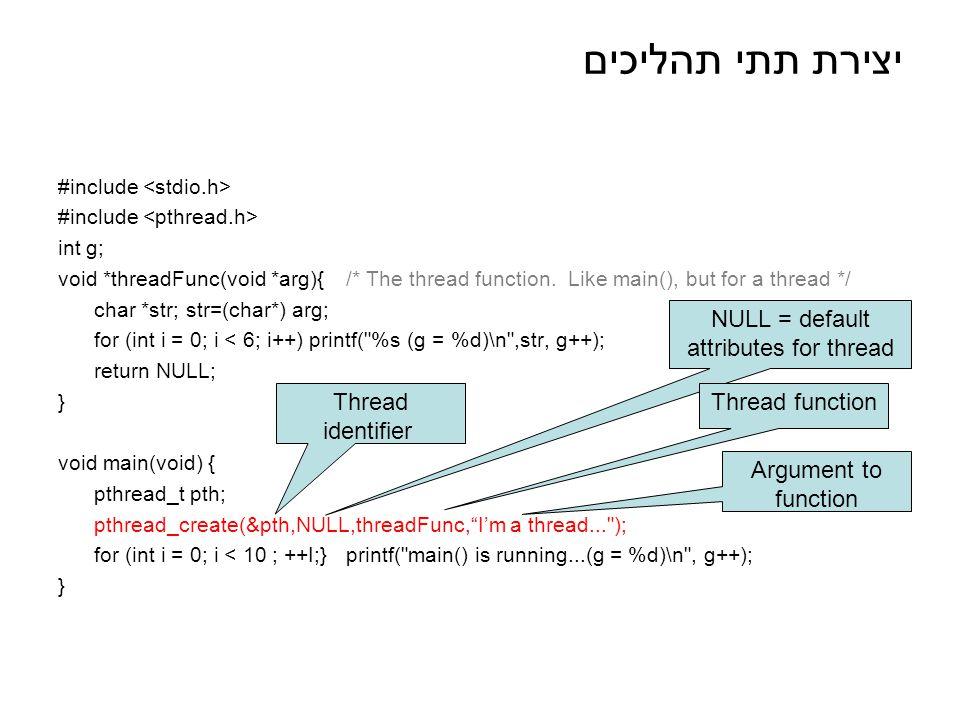יצירת תתי תהליכים #include int g; void *threadFunc(void *arg){/* The thread function.
