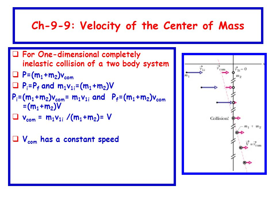 Ch-9-9: Velocity of the Center of Mass  For One-dimensional completely inelastic collision of a two body system  P=(m 1 +m 2 )v com  P i =P f and m