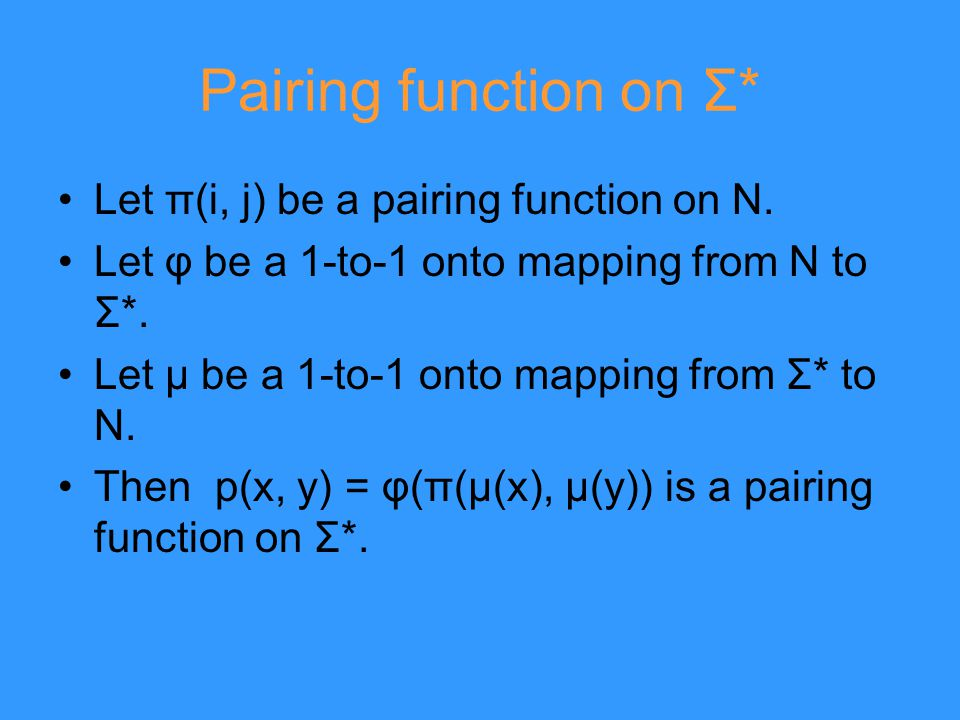 Pairing function on Σ* Let π(i, j) be a pairing function on N.