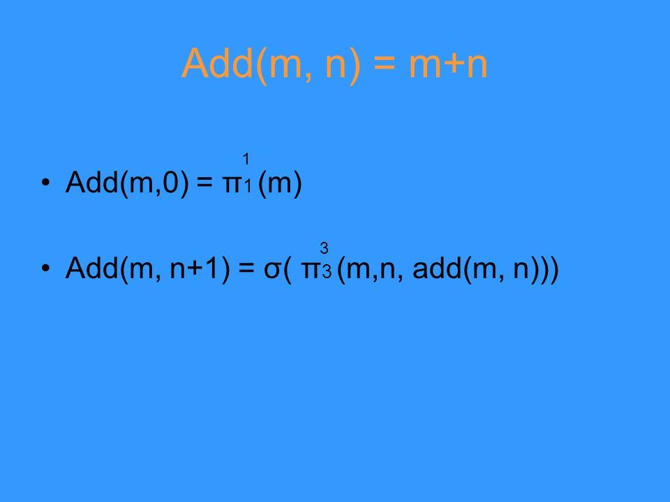 Add(m, n) = m+n Add(m,0) = π 1 (m) Add(m, n+1) = σ( π 3 (m,n, add(m, n))) 1 3