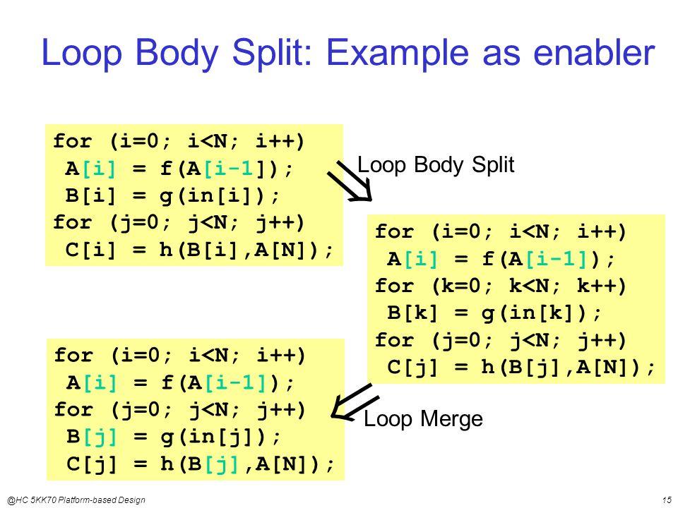 @HC 5KK70 Platform-based Design15 Loop Body Split: Example as enabler for (i=0; i<N; i++) A[i] = f(A[i-1]); B[i] = g(in[i]); for (j=0; j<N; j++) C[i] = h(B[i],A[N]); for (i=0; i<N; i++) A[i] = f(A[i-1]); for (k=0; k<N; k++) B[k] = g(in[k]); for (j=0; j<N; j++) C[j] = h(B[j],A[N]);  Loop Body Split for (i=0; i<N; i++) A[i] = f(A[i-1]); for (j=0; j<N; j++) B[j] = g(in[j]); C[j] = h(B[j],A[N]);  Loop Merge