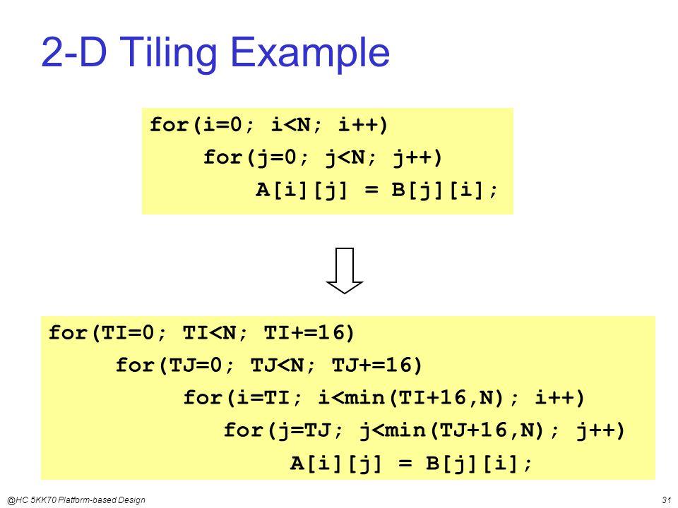 @HC 5KK70 Platform-based Design31 2-D Tiling Example for(i=0; i<N; i++) for(j=0; j<N; j++) A[i][j] = B[j][i]; for(TI=0; TI<N; TI+=16) for(TJ=0; TJ<N; TJ+=16) for(i=TI; i<min(TI+16,N); i++) for(j=TJ; j<min(TJ+16,N); j++) A[i][j] = B[j][i];