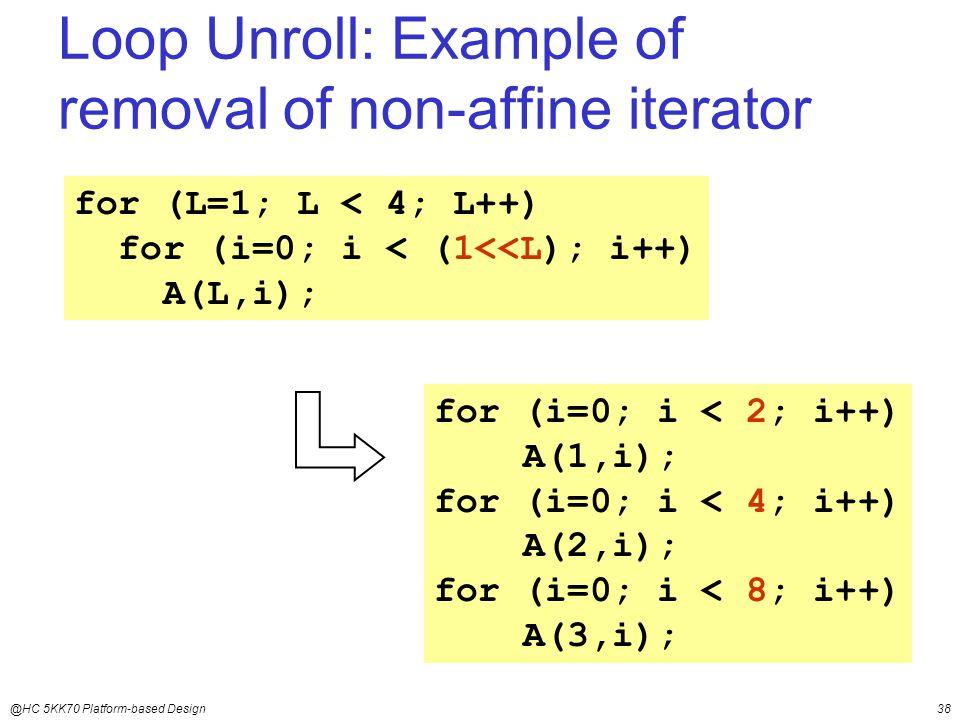 @HC 5KK70 Platform-based Design38 for (L=1; L < 4; L++) for (i=0; i < (1<<L); i++) A(L,i); for (i=0; i < 2; i++) A(1,i); for (i=0; i < 4; i++) A(2,i); for (i=0; i < 8; i++) A(3,i); Loop Unroll: Example of removal of non-affine iterator