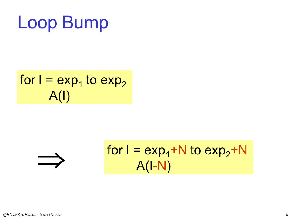 @HC 5KK70 Platform-based Design9 for I = exp 1 to exp 2 A(I)  for I = exp 1 +N to exp 2 +N A(I-N) Loop Bump