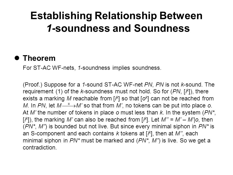 Establishing Relationship Between 1-soundness and Soundness Theorem For ST-AC WF-nets, 1-soundness implies soundness.