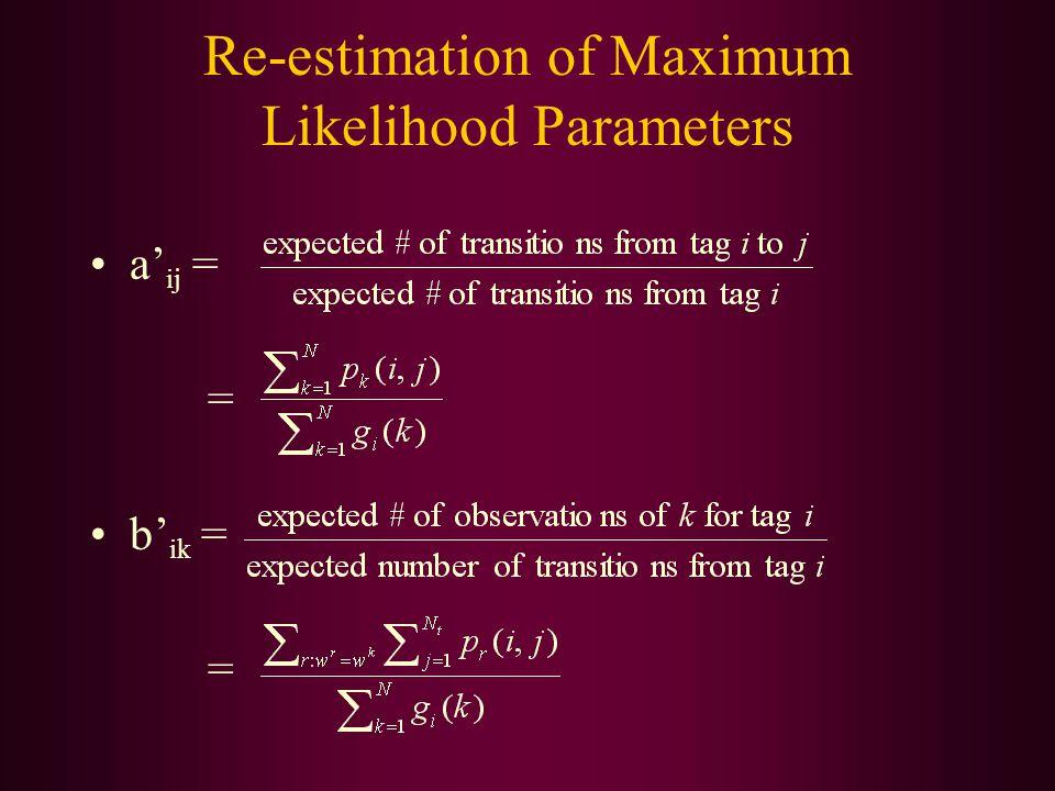Re-estimation of Maximum Likelihood Parameters a' ij = = b' ik = =