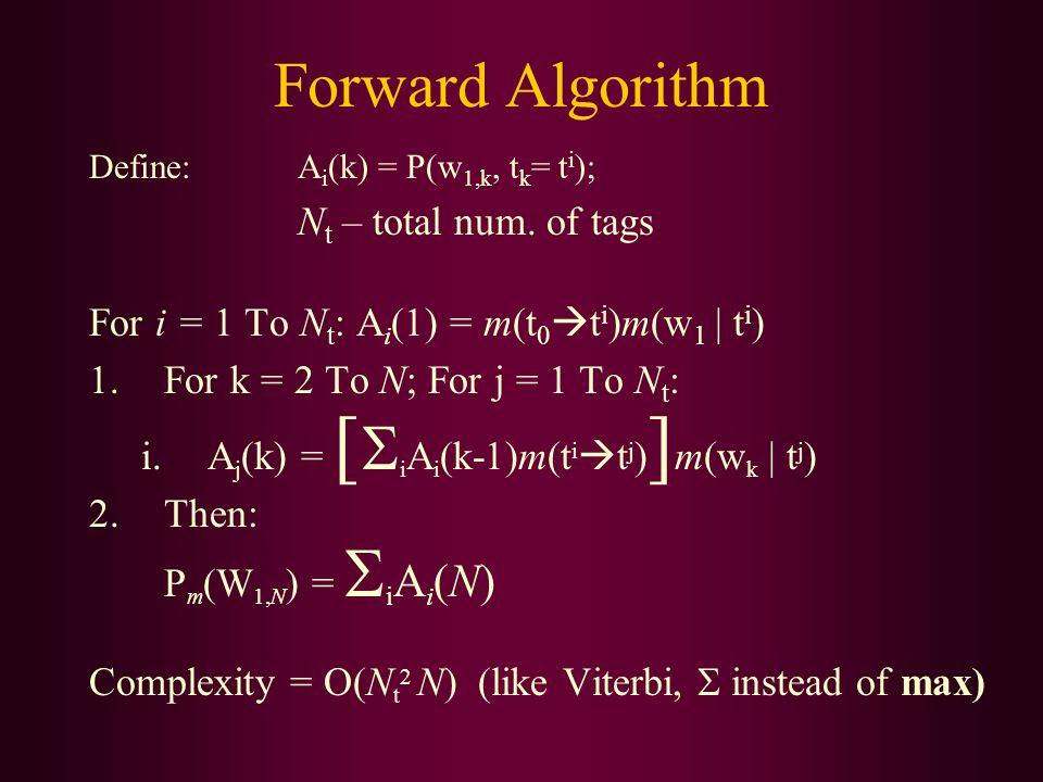 Forward Algorithm Define: A i (k) = P(w 1,k, t k = t i ); N t – total num.