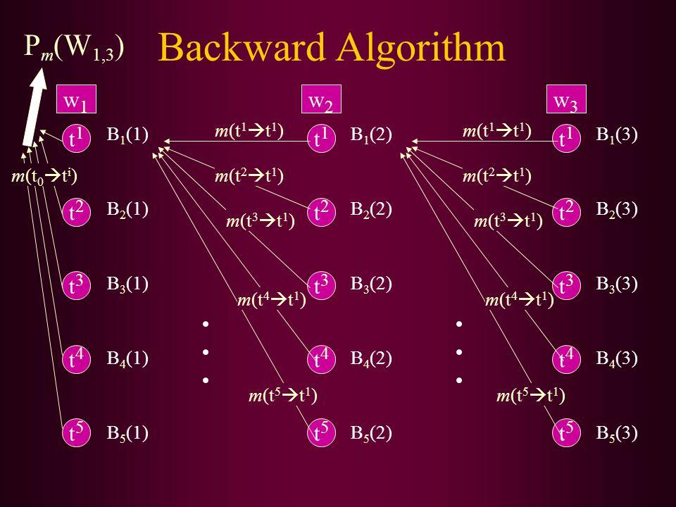 Backward Algorithm t1t1 t2t2 t5t5 t4t4 t3t3 w1w1 t1t1 t2t2 t5t5 t4t4 t3t3 w2w2 t1t1 t2t2 t5t5 t4t4 t3t3 w3w3 B 1 (1) B 2 (1) B 5 (1) B 4 (1) B 3 (1) m(t 0  t i ) B 1 (2) B 2 (2) B 5 (2) B 4 (2) B 3 (2) B 1 (3) B 2 (3) B 5 (3) B 4 (3) B 3 (3) m(t 1  t 1 ) m(t 2  t 1 ) m(t 3  t 1 ) m(t 4  t 1 ) m(t 5  t 1 ) m(t 1  t 1 ) m(t 2  t 1 ) m(t 3  t 1 ) m(t 4  t 1 ) m(t 5  t 1 ) P m (W 1,3 )
