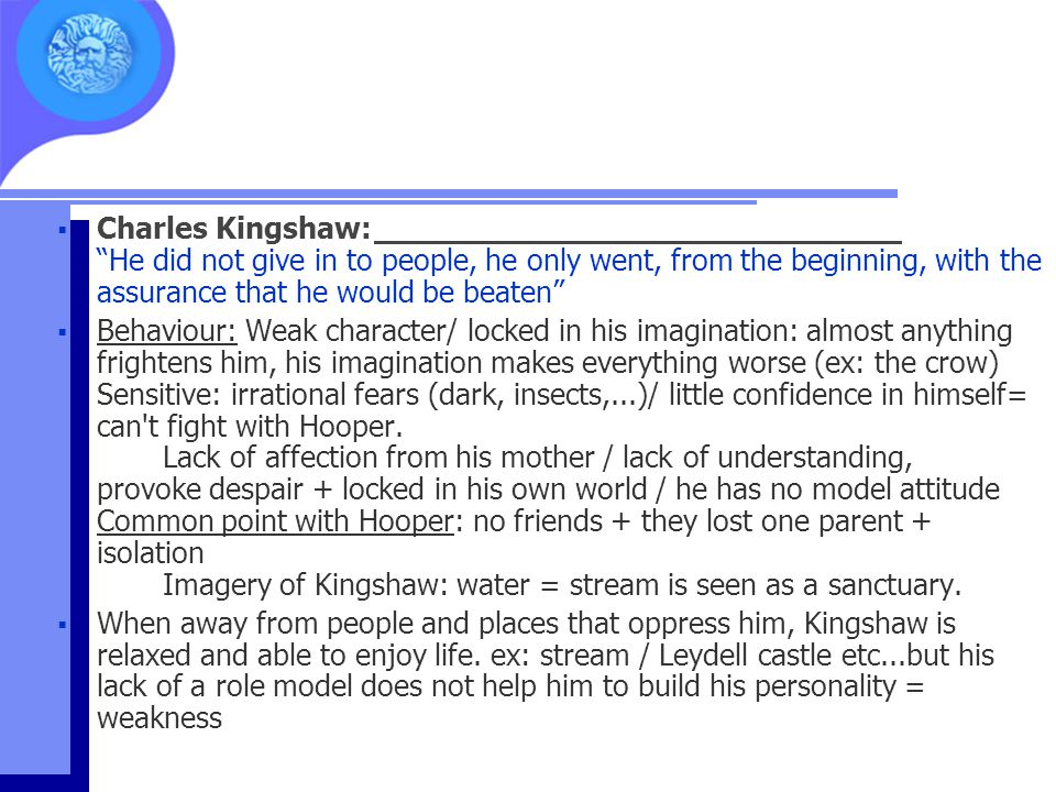 """ Charles Kingshaw: """"He did not give in to people, he only went, from the beginning, with the assurance that he would be beaten""""  Behaviour: Weak cha"""