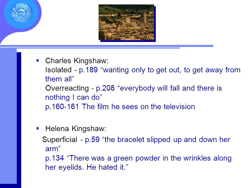 """ Charles Kingshaw: Isolated - p.189 """"wanting only to get out, to get away from them all"""" Overreacting - p.208 """"everybody will fall and there is nothi"""