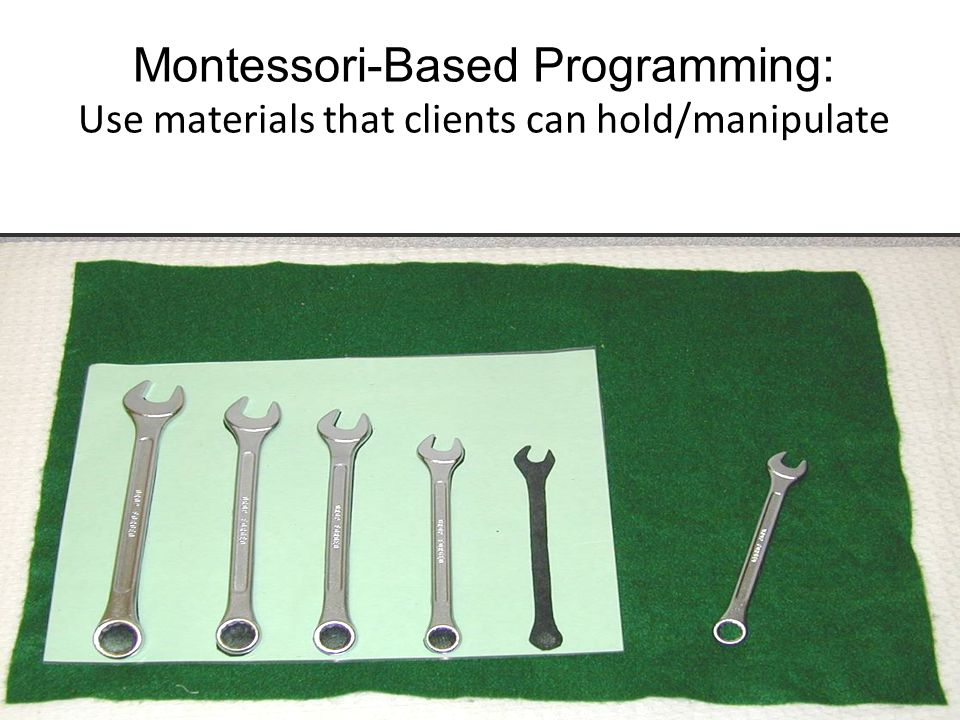 Montessori-Based Programming: Use materials that clients can hold/manipulate 34