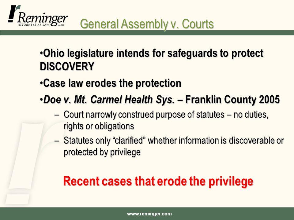 www.reminger.com General Assembly v.
