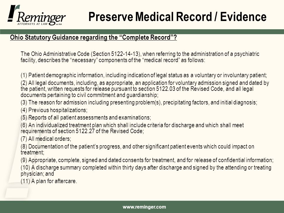 Ohio Statutory Guidance regarding the Complete Record .