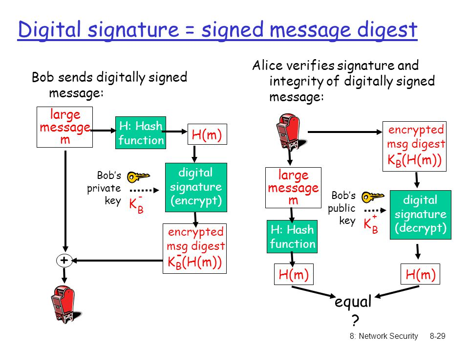 8: Network Security8-29 large message m H: Hash function H(m) digital signature (encrypt) Bob's private key K B - + Bob sends digitally signed message