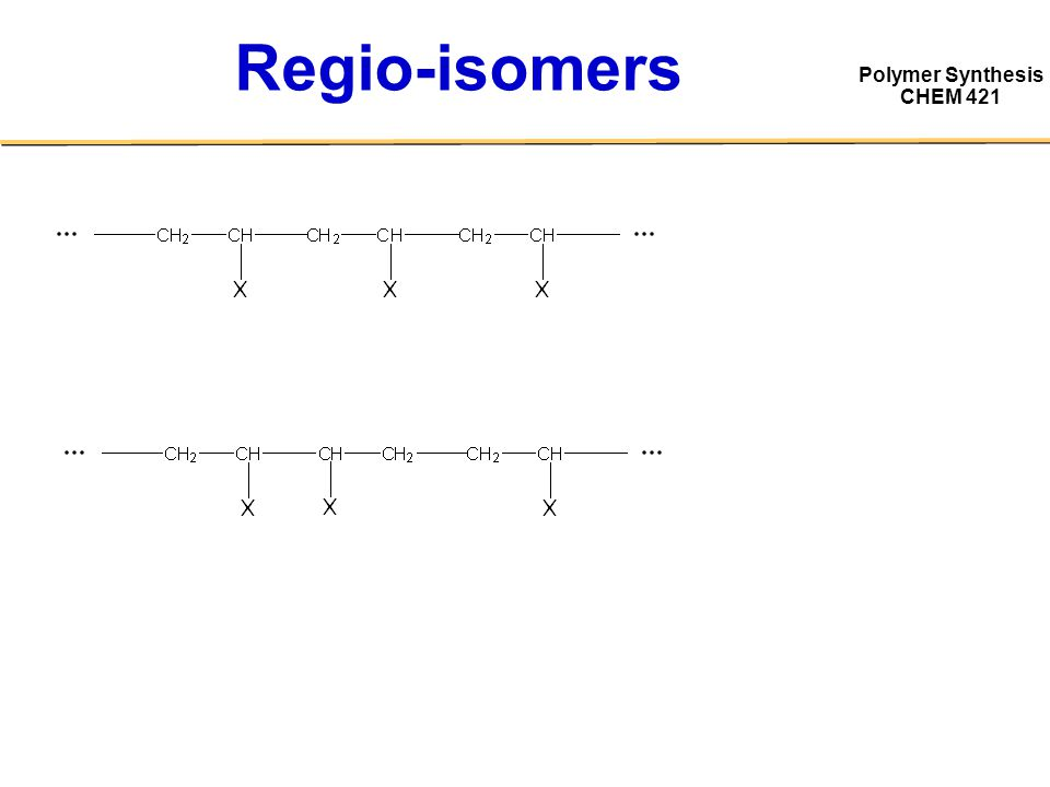 Polymer Synthesis CHEM 421 Regio-isomers defect