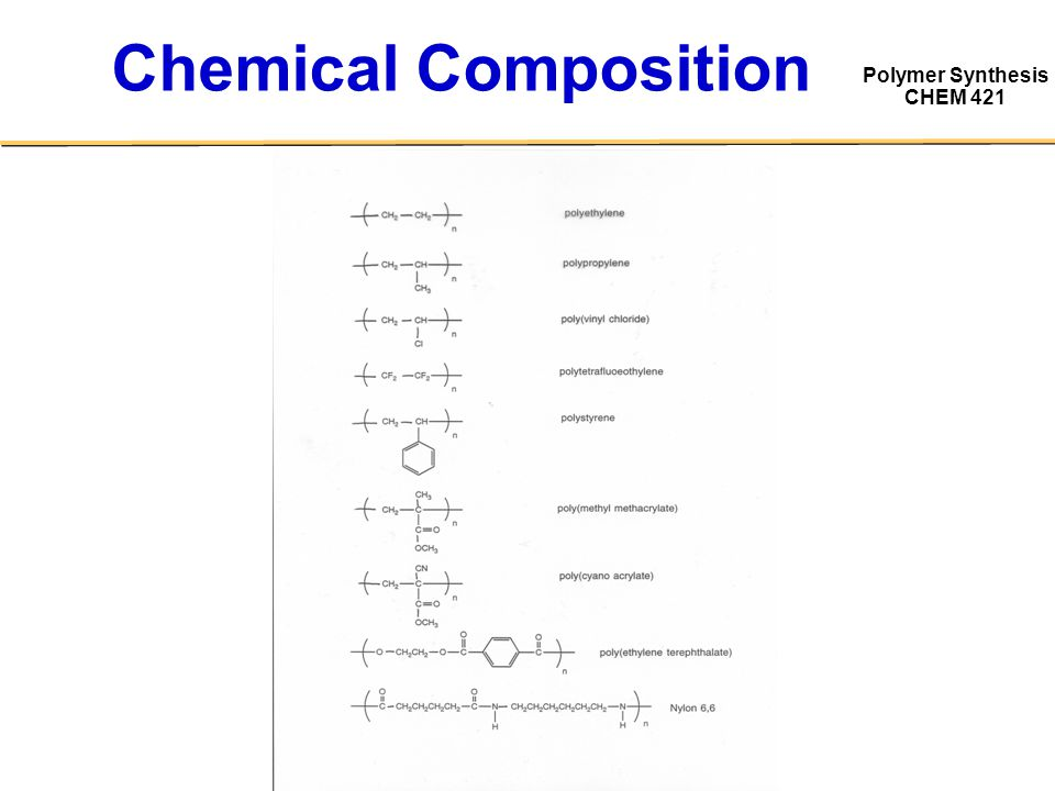 Polymer Synthesis CHEM 421 Chemical Composition
