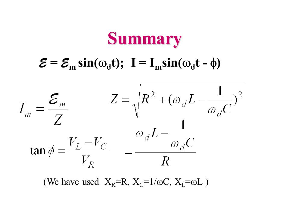 Summary E = E m sin(  d t); I = I m sin(  d t -  ) (We have used X R =R, X C =1/  C, X L =  L )