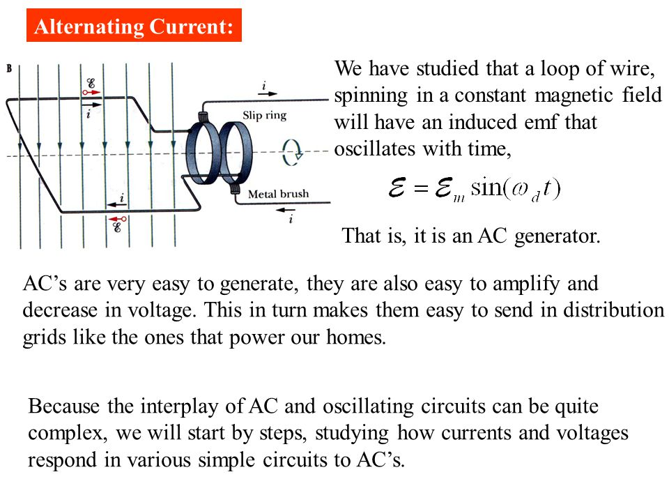 We have studied that a loop of wire, spinning in a constant magnetic field will have an induced emf that oscillates with time, That is, it is an AC generator.