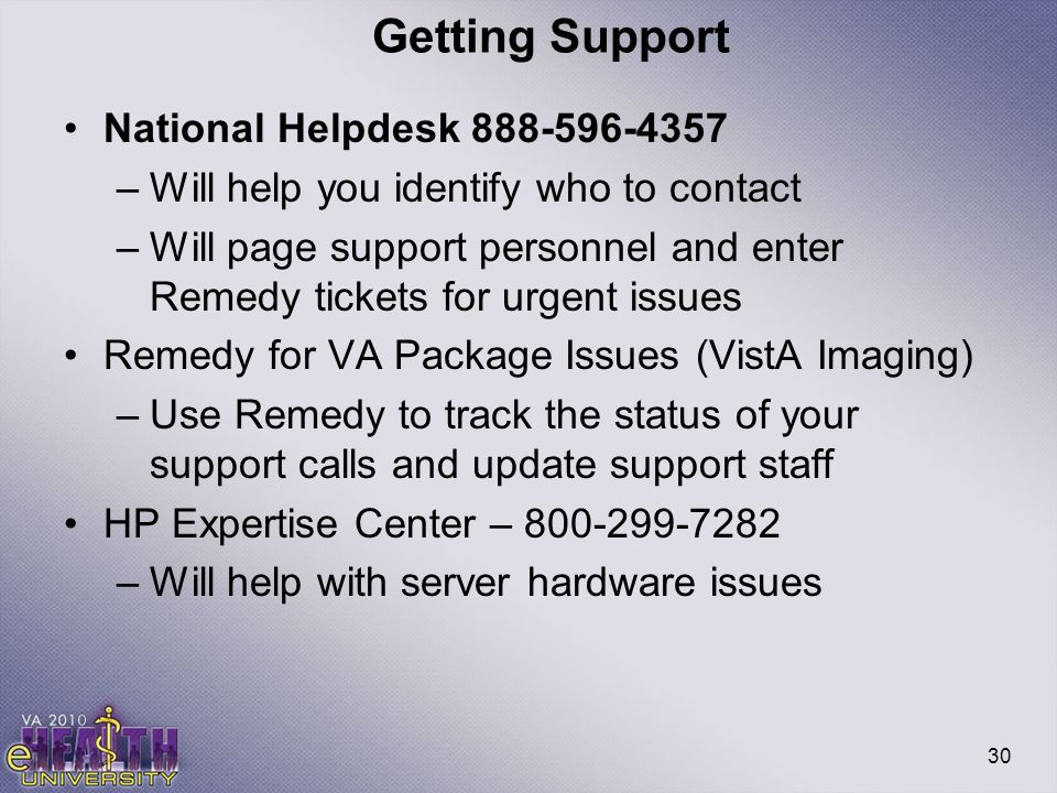 30 Getting Support National Helpdesk 888-596-4357 –Will help you identify who to contact –Will page support personnel and enter Remedy tickets for urg