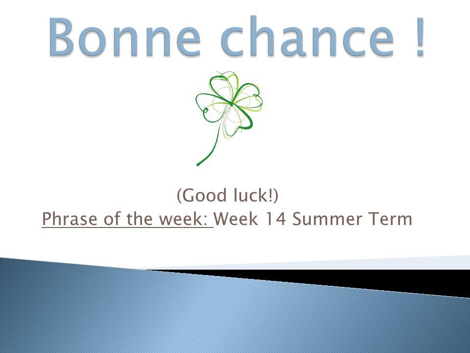 (Good luck!) Phrase of the week: Week 14 Summer Term