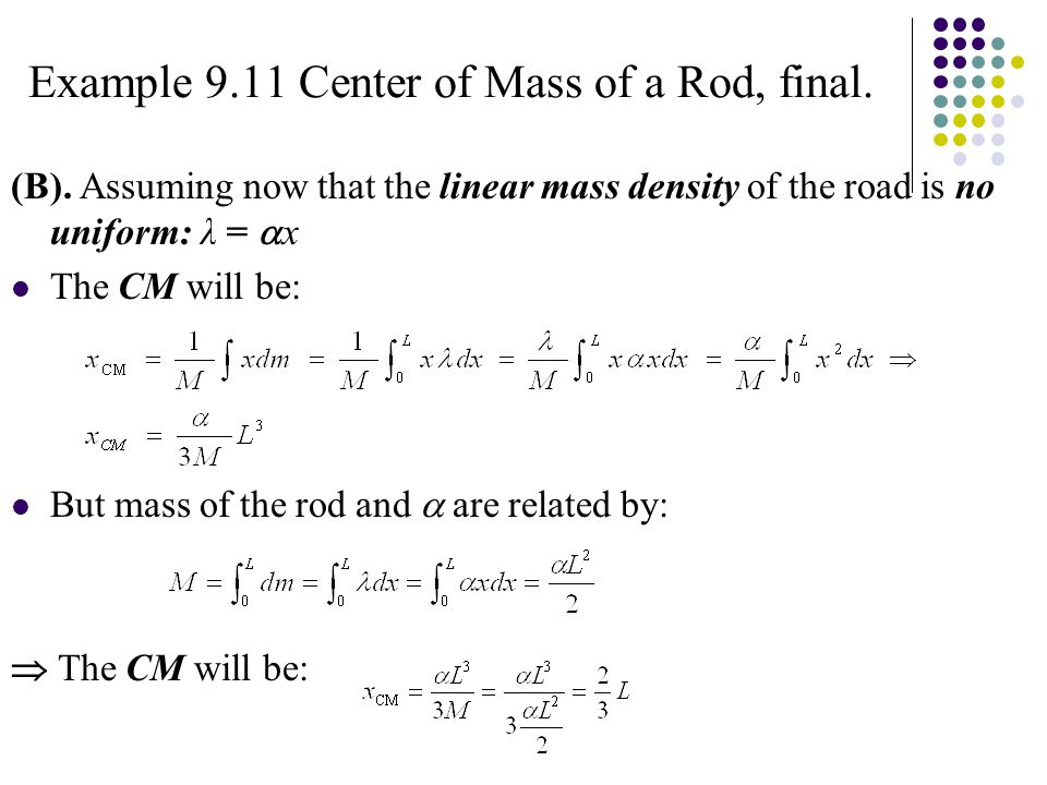 Example 9.11 Center of Mass of a Rod, final. (B).