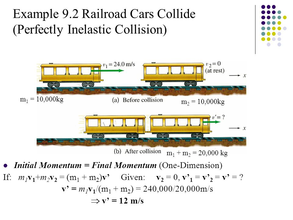 Example 9.2 Railroad Cars Collide (Perfectly Inelastic Collision) Initial Momentum = Final Momentum (One-Dimension) If: m 1 v 1 +m 2 v 2 = (m 1 + m 2 )v' Given: v 2 = 0, v' 1 = v' 2 = v' = .