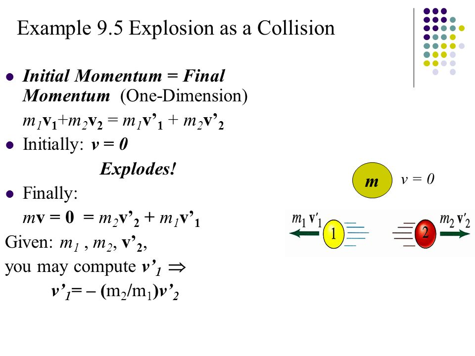 Example 9.5 Explosion as a Collision Initial Momentum = Final Momentum (One-Dimension) m 1 v 1 +m 2 v 2 = m 1 v' 1 + m 2 v' 2 Initially: v = 0 Explodes.