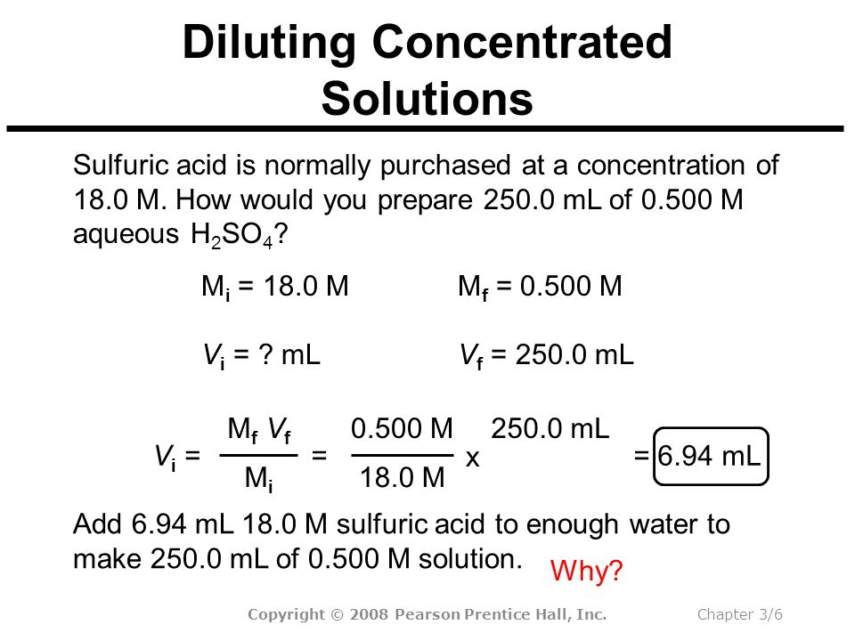 Copyright © 2008 Pearson Prentice Hall, Inc.Chapter 3/6 Diluting Concentrated Solutions Add 6.94 mL 18.0 M sulfuric acid to enough water to make 250.0 mL of 0.500 M solution.