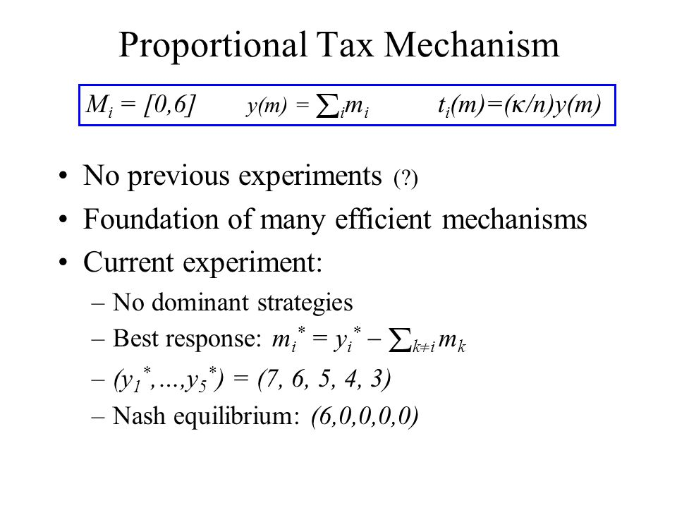 Proportional Tax Mechanism No previous experiments ( ) Foundation of many efficient mechanisms Current experiment: –No dominant strategies –Best response: m i * = y i *   k  i m k –(y 1 *,…,y 5 * ) = (7, 6, 5, 4, 3) –Nash equilibrium: (6,0,0,0,0) M i = [0,6] y(m) =  i m i t i (m)=(  /n)y(m)