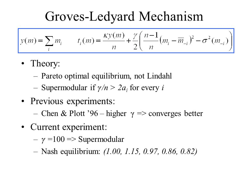 Groves-Ledyard Mechanism Theory: –Pareto optimal equilibrium, not Lindahl –Supermodular if  /n > 2a i for every i Previous experiments: –Chen & Plott '96 – higher  => converges better Current experiment: –  =100 => Supermodular –Nash equilibrium: (1.00, 1.15, 0.97, 0.86, 0.82)