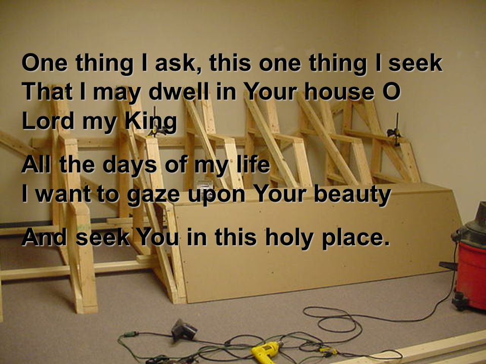 One thing I ask, this one thing I seek That I may dwell in Your house O Lord my King All the days of my life I want to gaze upon Your beauty And seek You in this holy place.