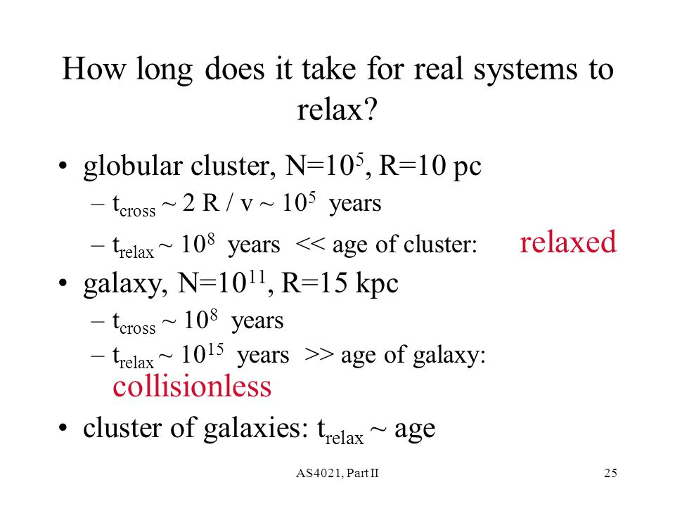AS4021, Part II25 How long does it take for real systems to relax.