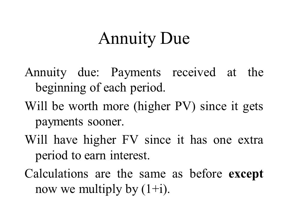 Annuity Due Annuity due: Payments received at the beginning of each period.