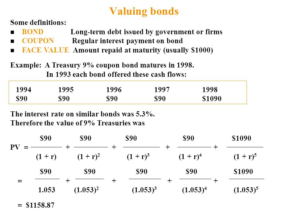 Valuing bonds Some definitions: n BOND Long-term debt issued by government or firms n COUPON Regular interest payment on bond n FACE VALUE Amount repaid at maturity (usually $1000) Example: A Treasury 9% coupon bond matures in 1998.