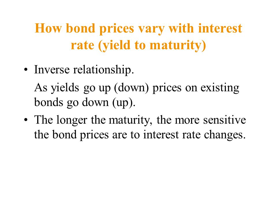 How bond prices vary with interest rate (yield to maturity) Inverse relationship.
