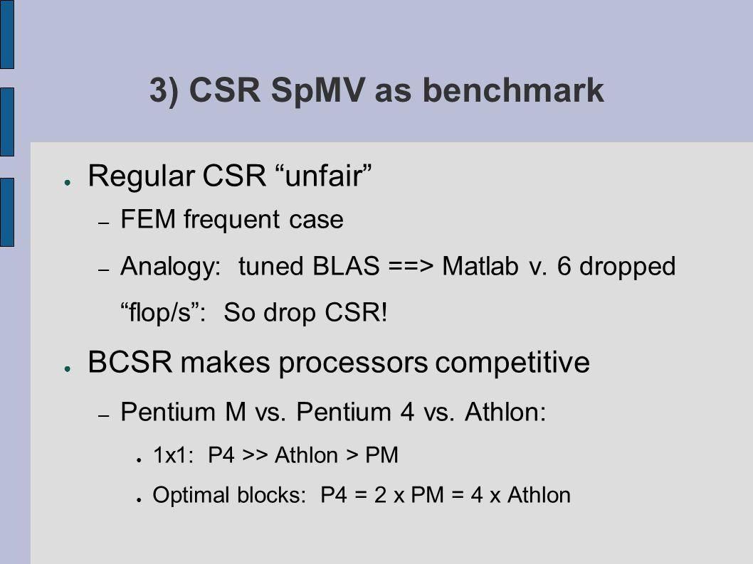 3) CSR SpMV as benchmark ● Regular CSR unfair – FEM frequent case – Analogy: tuned BLAS ==> Matlab v.
