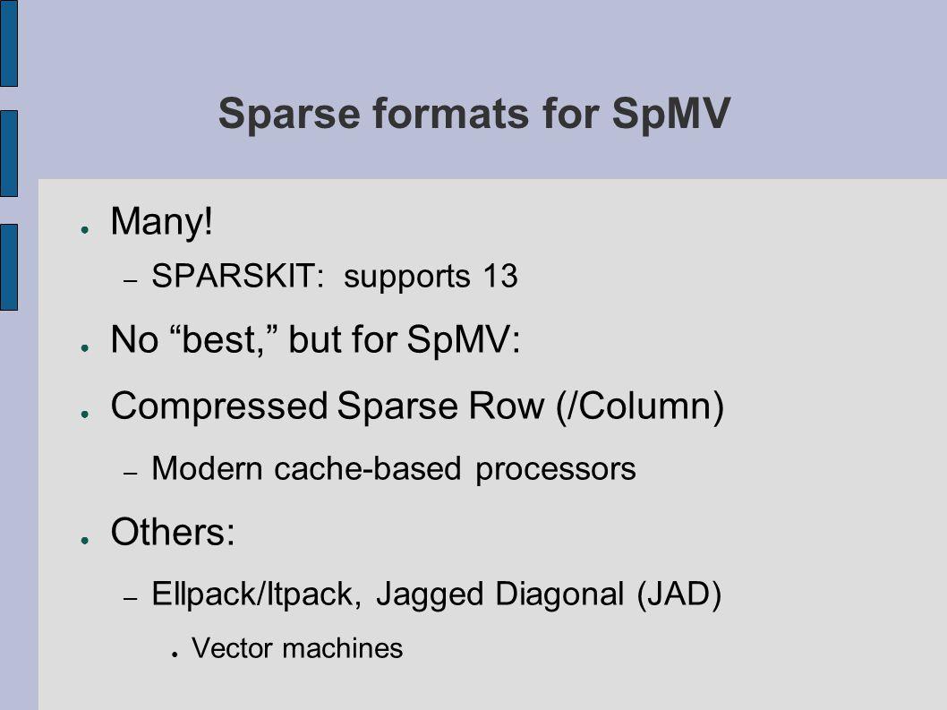Sparse formats for SpMV ● Many.
