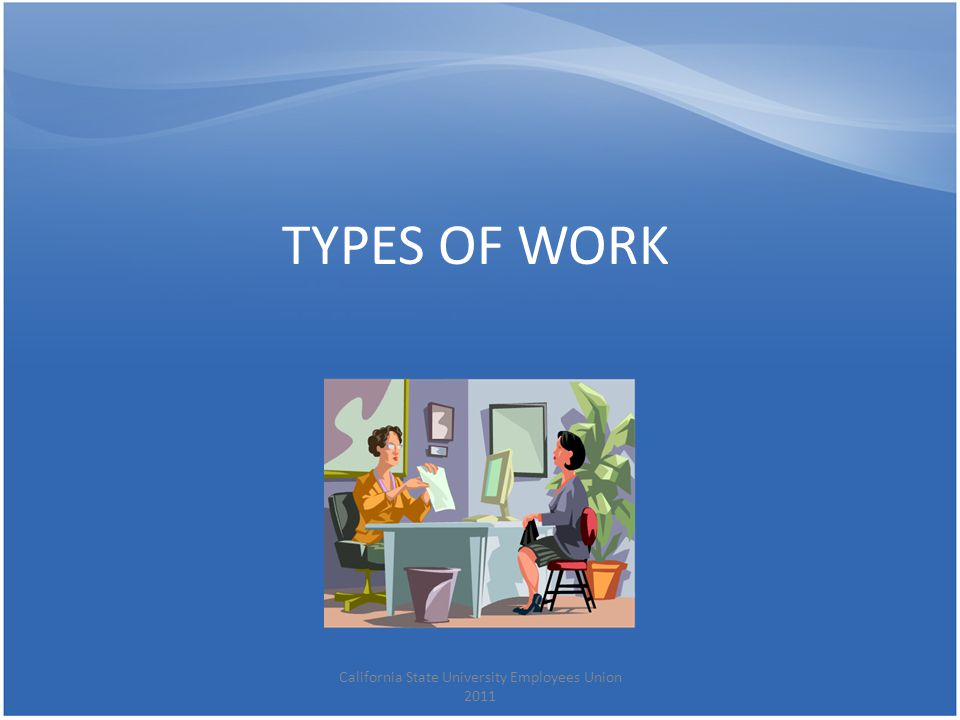 TYPES OF WORK California State University Employees Union 2011