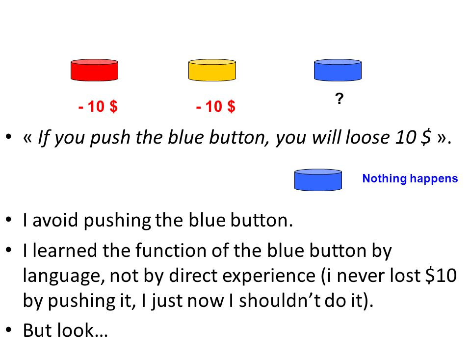 « If you push the blue button, you will loose 10 $ ».