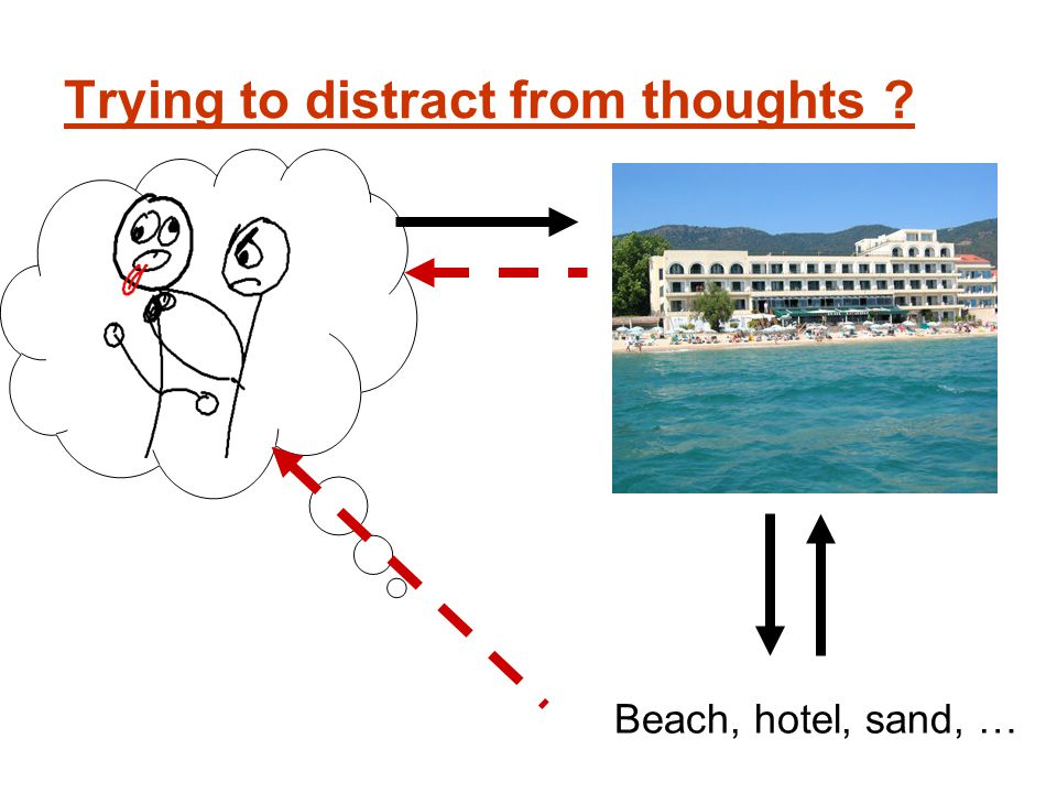 Beach, hotel, sand, … Trying to distract from thoughts