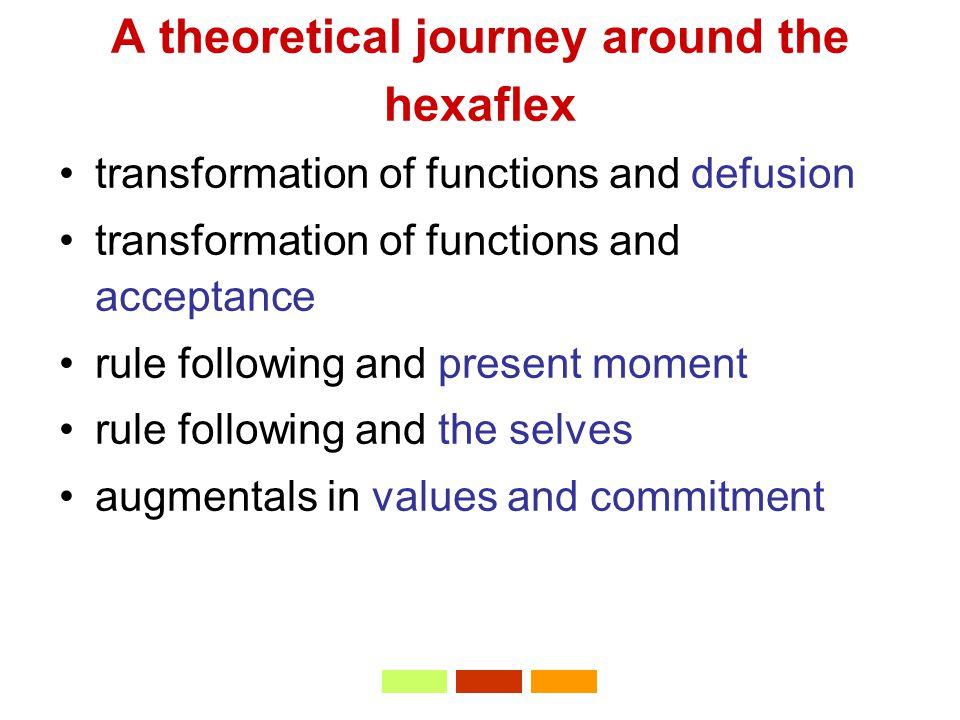 A theoretical journey around the hexaflex transformation of functions and defusion transformation of functions and acceptance rule following and present moment rule following and the selves augmentals in values and commitment