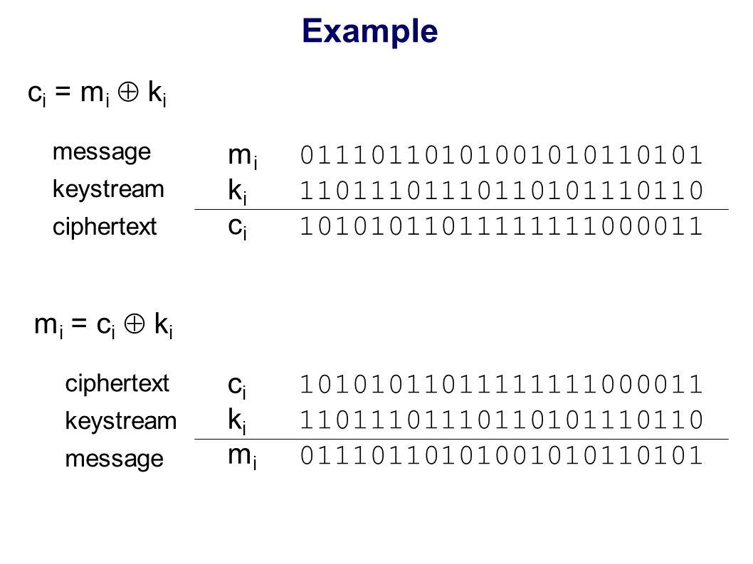 Example c i = m i  k i mikicimikici 01110110101001010110101 11011101110110101110110 10101011011111111000011 message keystream ciphertext m i = c i  k i cikimicikimi 10101011011111111000011 11011101110110101110110 01110110101001010110101 ciphertext keystream message