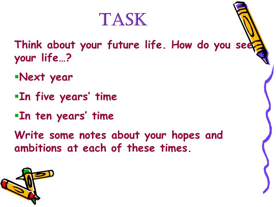 TASK Think about your future life. How do you see your life…?  Next year  In five years' time  In ten years' time Write some notes about your hopes