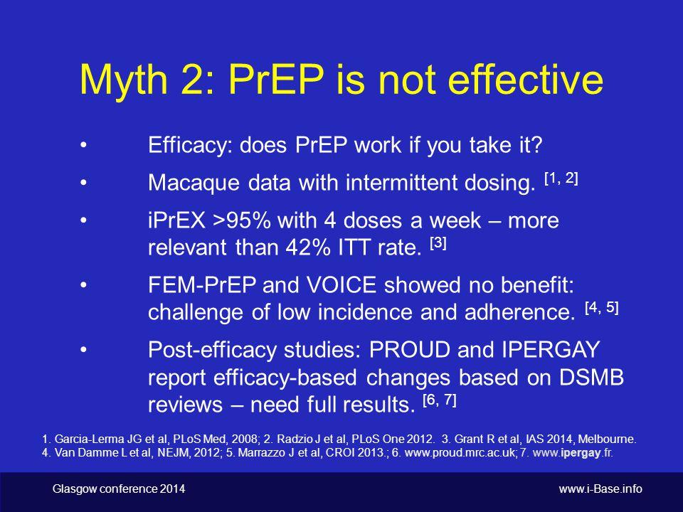 Glasgow conference 2014 www.i-Base.info Efficacy in Partners PrEP [1] 1.