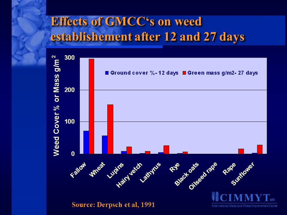 C I M M Y T MR International Maize and Wheat Improvement Center Effects of GMCC's on weed establishement after 12 and 27 days Source: Derpsch et al, 1