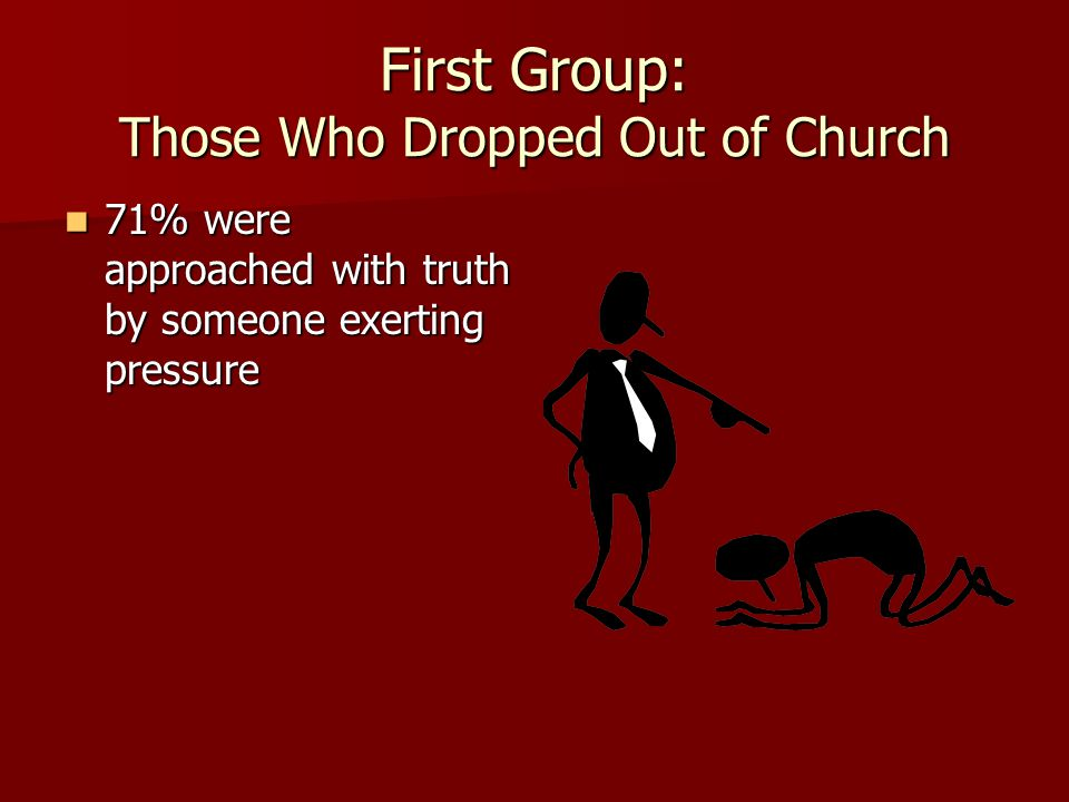 First Group: Those Who Dropped Out of Church 71% were approached with truth by someone exerting pressure 71% were approached with truth by someone exerting pressure