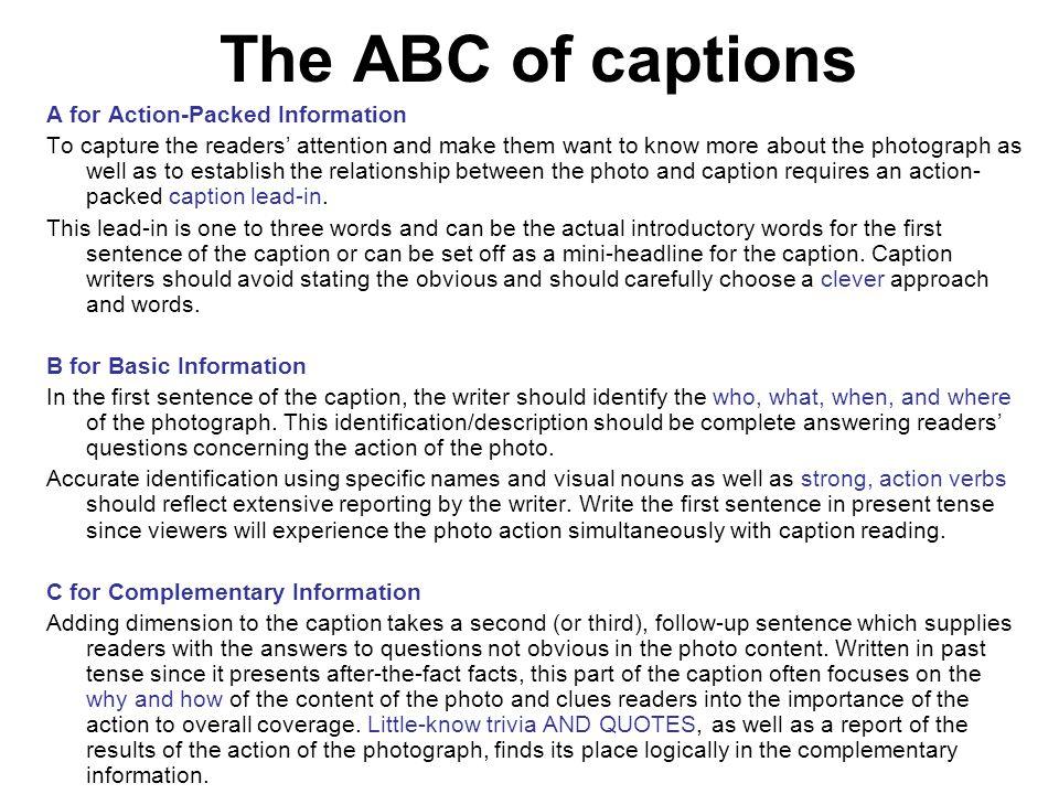 10 Ways to Write Caption Leads 9.