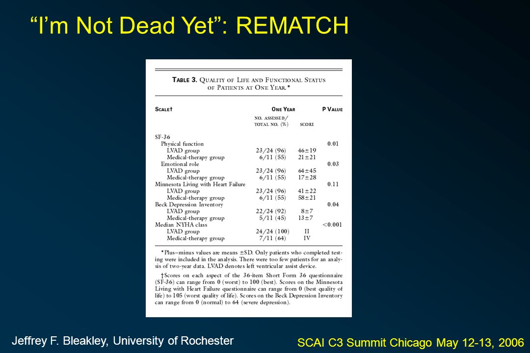 "SCAI C3 Summit Chicago May 12-13, 2006 ""I'm Not Dead Yet"": REMATCH Jeffrey F. Bleakley, University of Rochester"