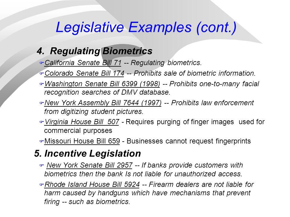 Legislative Examples (cont.) 4. Regulating Biometrics F California Senate Bill 71 -- Regulating biometrics. F Colorado Senate Bill 174 -- Prohibits sa