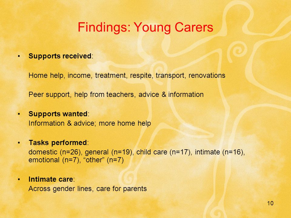 10 Findings: Young Carers Supports received: Home help, income, treatment, respite, transport, renovations Peer support, help from teachers, advice & information Supports wanted: Information & advice; more home help Tasks performed: domestic (n=26), general (n=19), child care (n=17), intimate (n=16), emotional (n=7), other (n=7) Intimate care: Across gender lines, care for parents